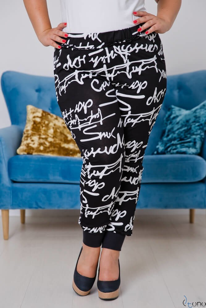 Black-White Trousers REGGIE Plus Size Drawcord