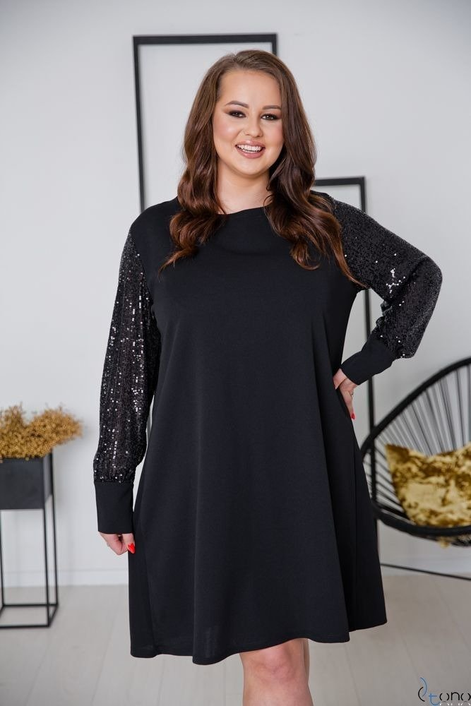 Black-Silver Dress CELESTA Plus Size