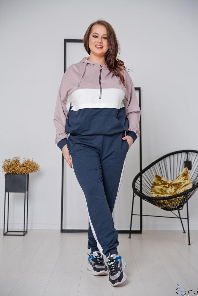 Navy-Pink Tracksuit TRIPLE Plus Size