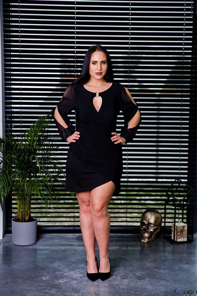 26ce774a9f Czarna Sukienka SERHIA Plus Size ✅ darmowy odbiór w punckie i zwrot ...