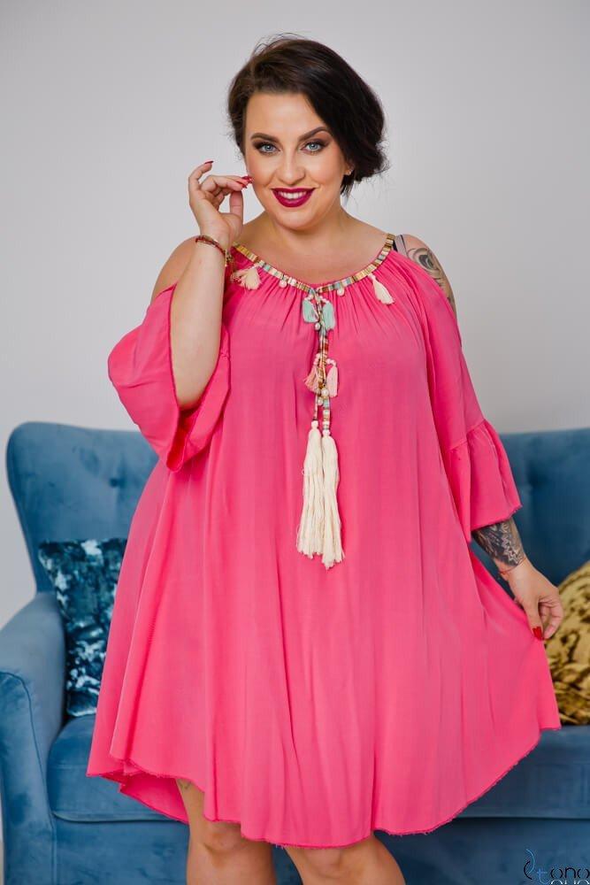 ffc9b767 Różowa Sukienka SOLENA Plus Size