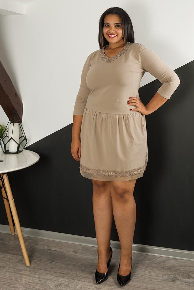 a8fa26c550 Beżowa Sukienka ALANA Koronka Plus Size ✅ darmowy odbiór w punckie ...