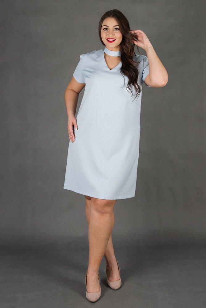 07bc904834 Błękitna Sukienka CASCADA Trapezowa Plus Size ✅ darmowy odbiór w ...