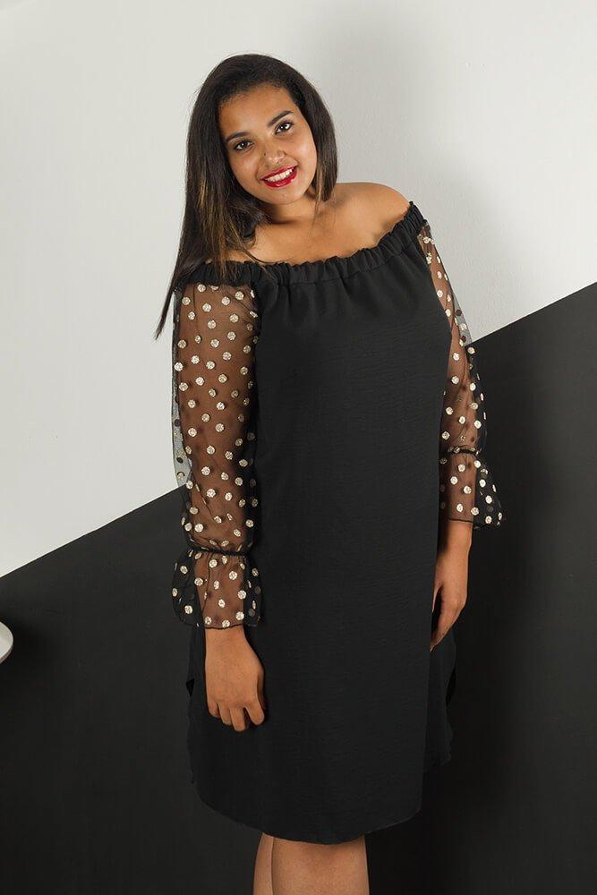 e79eb4fac6fea Czarna Sukienka MADAME Plus Size Grochy ✅ darmowy odbiór w punckie ...