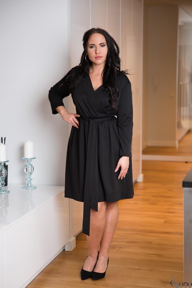 dd601cbb50 Czarna Sukienka MAKAN Kopertowa Plus Size ✅ darmowy odbiór w ...