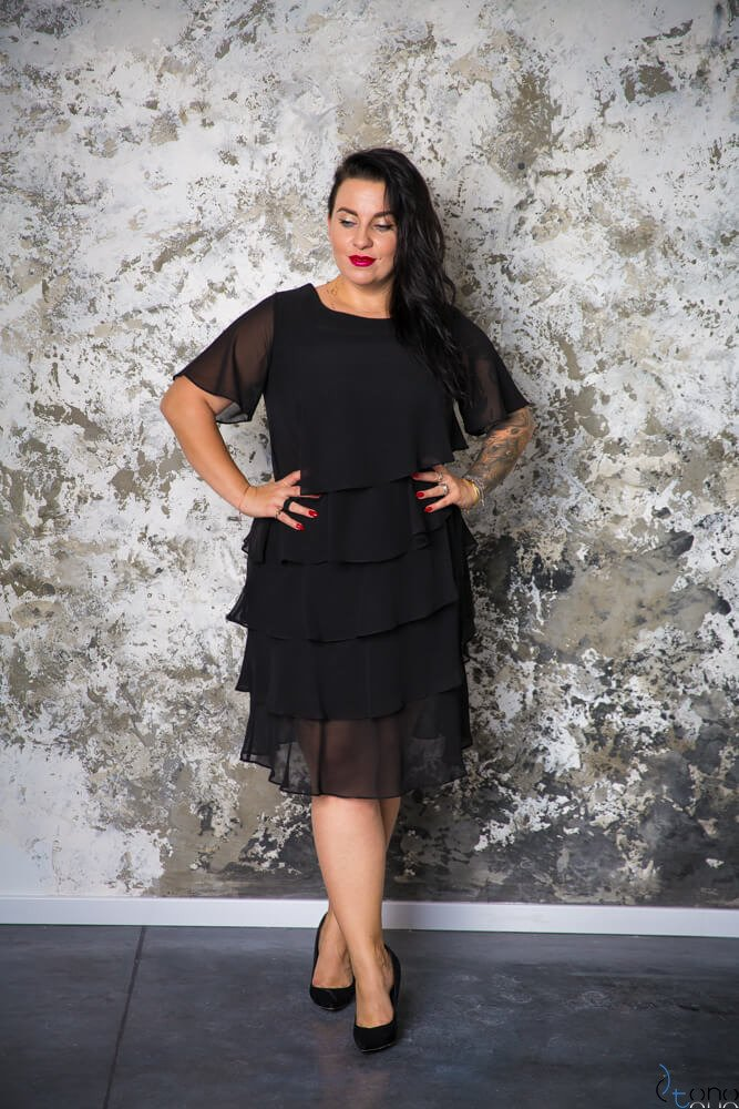 786589118b Czarna Sukienka ORINA Plus Size ✅ darmowy odbiór w punckie i zwrot ...