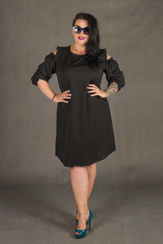 a367e46e04 Czarna Sukienka POLLY Trapezowa Plus Size ✅ darmowy odbiór w ...