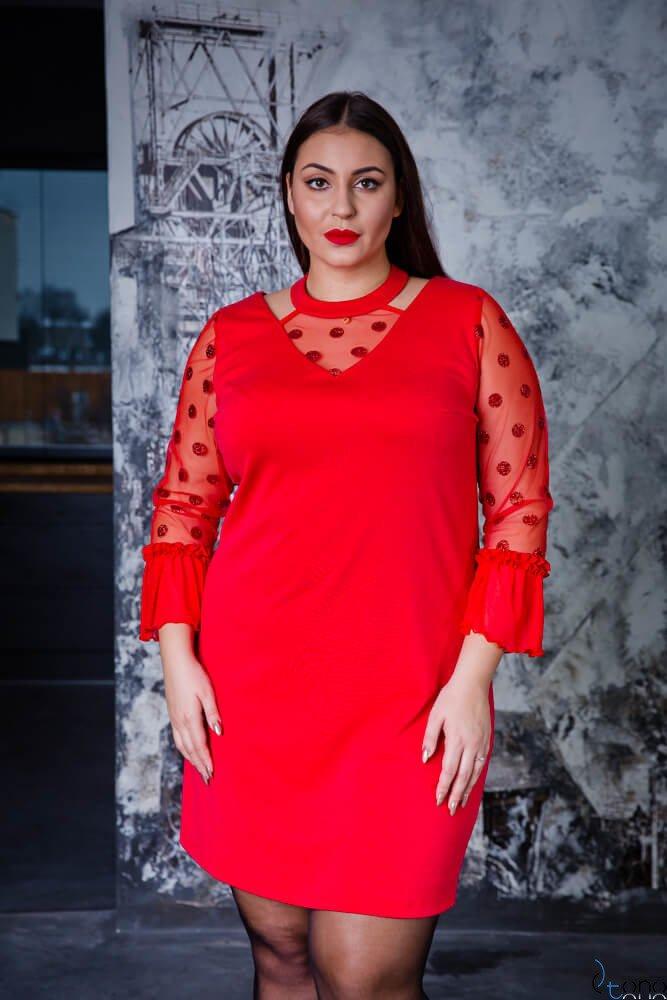 cbe7868574 Czerwona Sukienka CASCADA Plus Size Wizytowa ✅ darmowy odbiór w ...