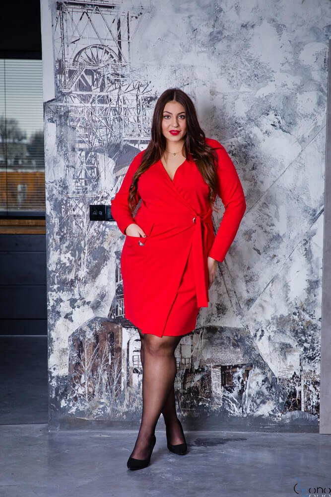 581c8d8c57 Czerwona Sukienka Damska KIMBERLY Kopertowa Size Plus ✅ darmowy ...