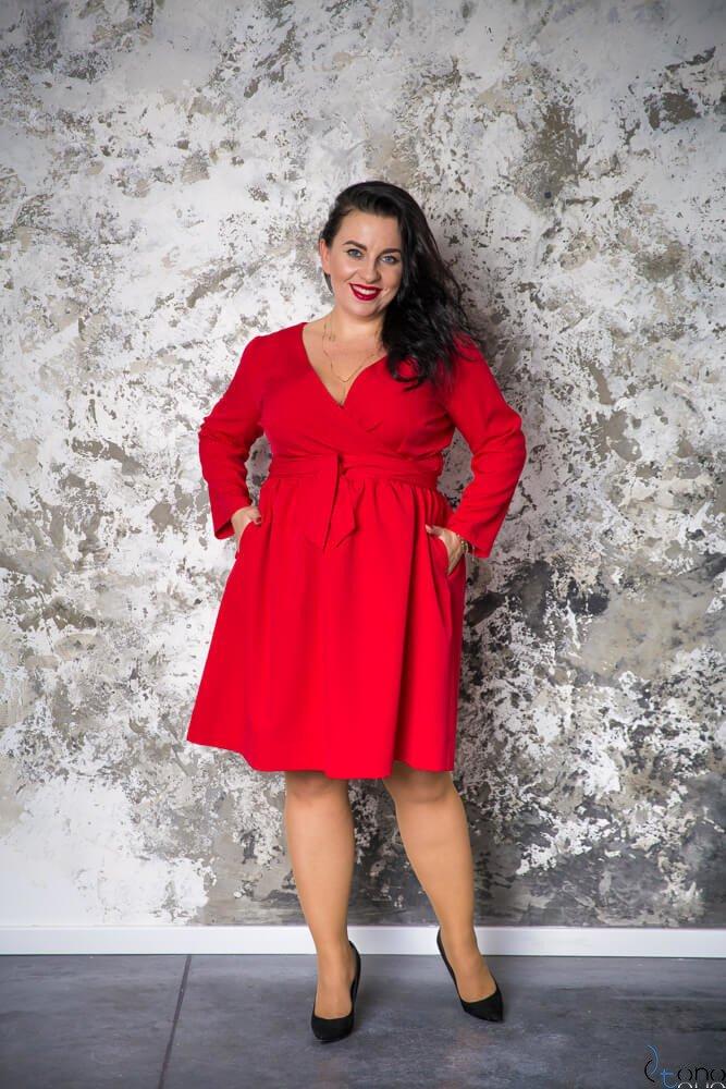 980e7c97dc Czerwona Sukienka MAKAN Kopertowa Plus Size ✅ darmowy odbiór w ...