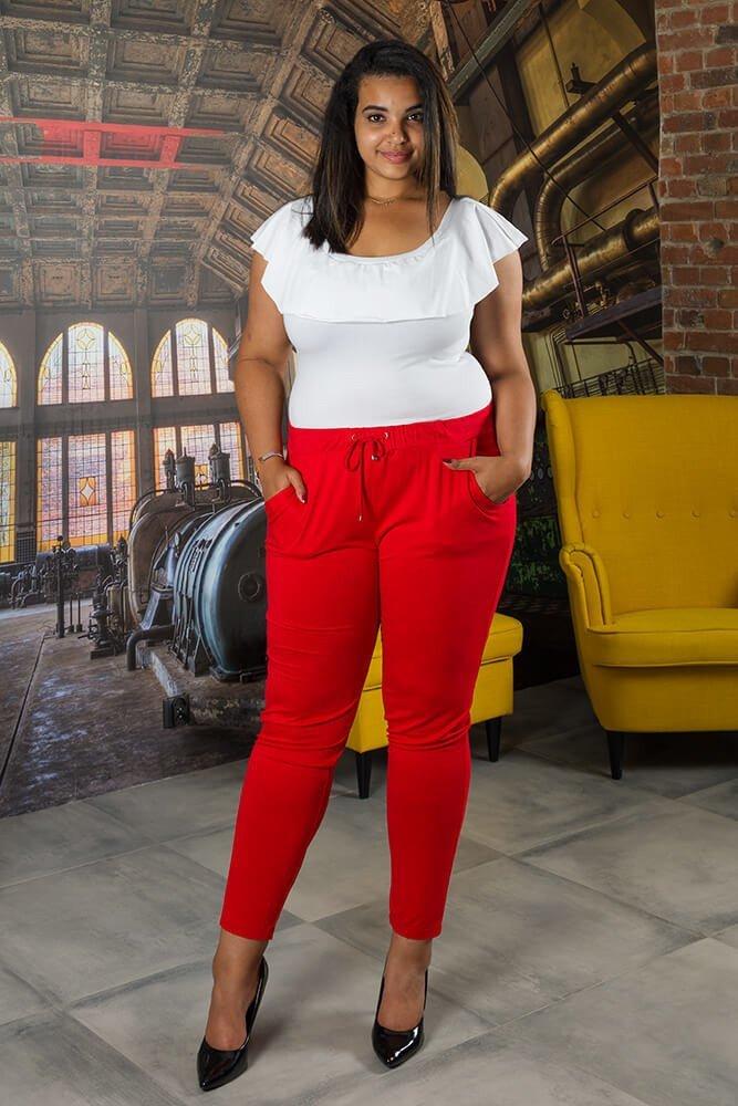 b6ea71f9e8 Czerwone Spodnie damskie MILENA Plus Size wygodne ✅ darmowy odbiór ...