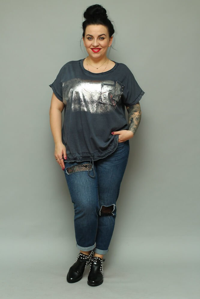 9e8e7116 Granat bluzka damska NOVARA T-shirt Plus Size