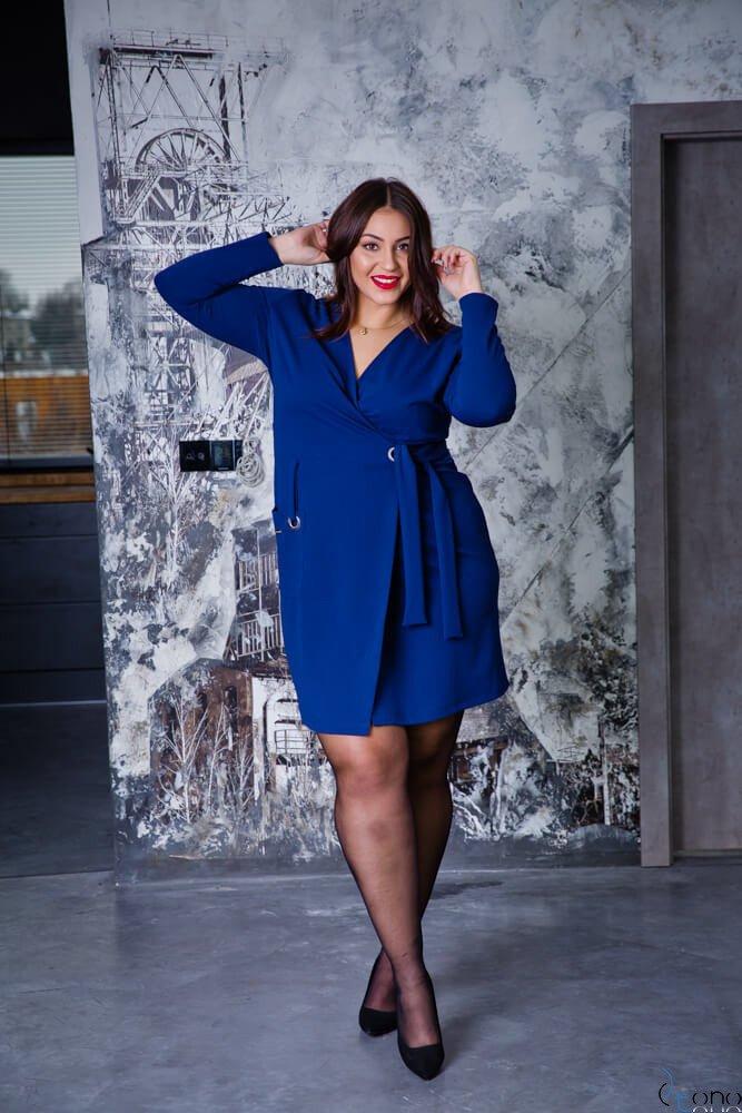 092eefdd4b Granatowa Sukienka Damska KIMBERLY Kopertowa Size Plus ✅ darmowy ...
