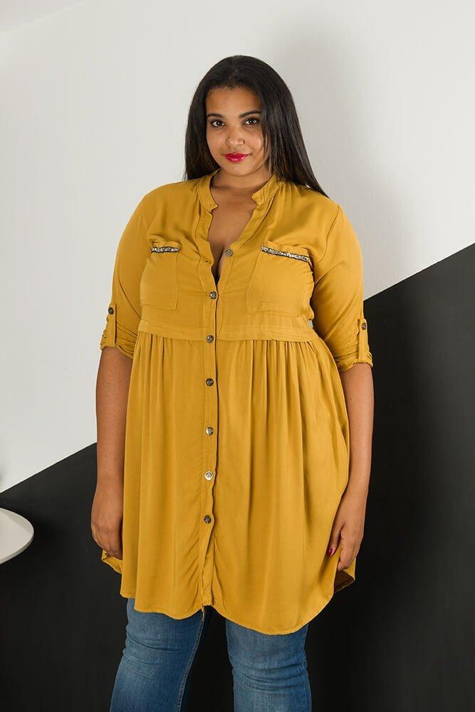 7b5e487f Musztardowa Koszula WONDER Plus Size