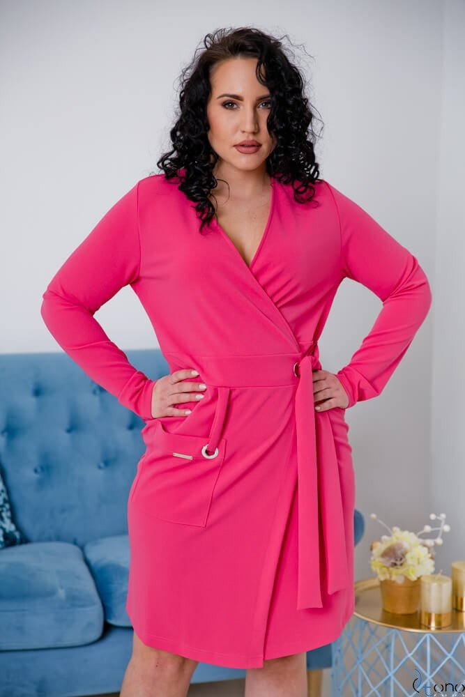 f544fe03a8 Różowa Sukienka Damska KIMBERLY Kopertowa Size Plus ✅ darmowy ...