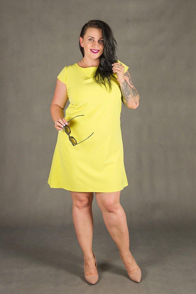 e788731b37 Żółta Sukienka FINESTRA Rozkloszowana Plus Size ✅ darmowy odbiór w ...