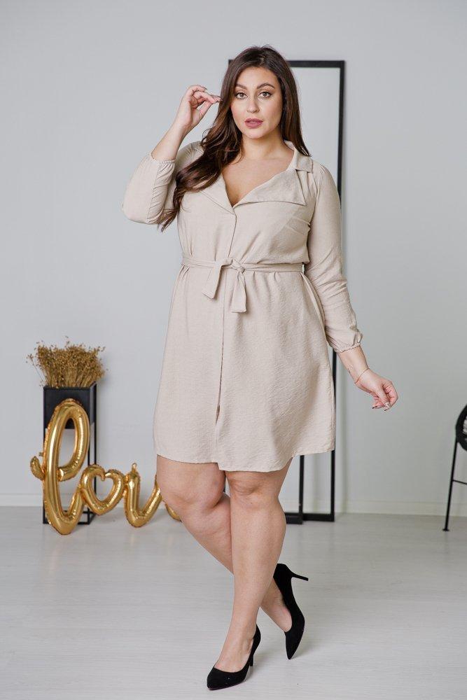 Beżowa Sukienka LUMOSA Plus Size