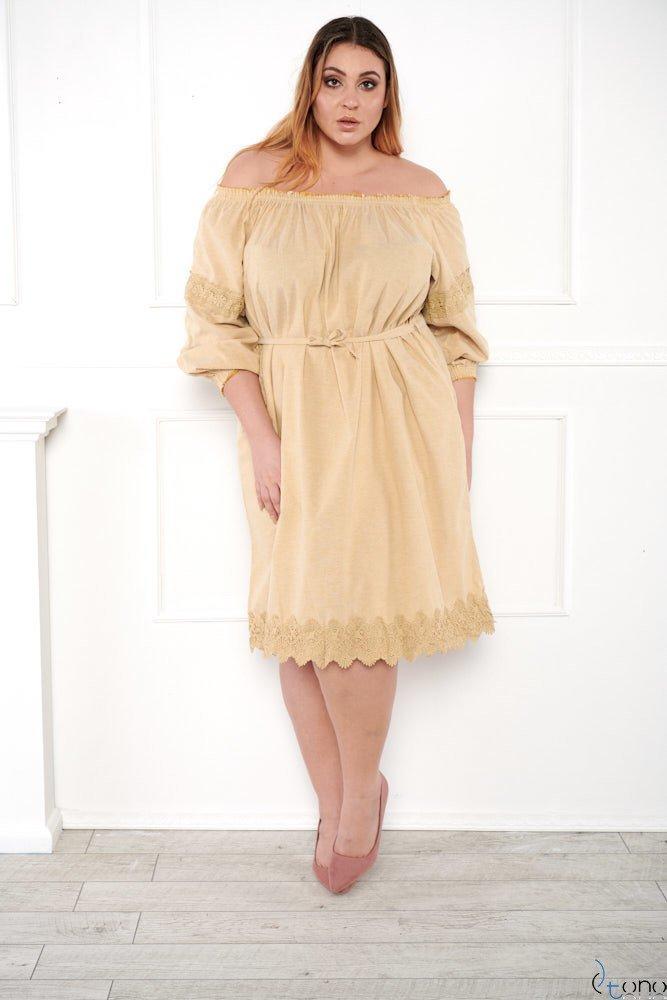 Beżowa Sukienka PALMIRA Plus Size
