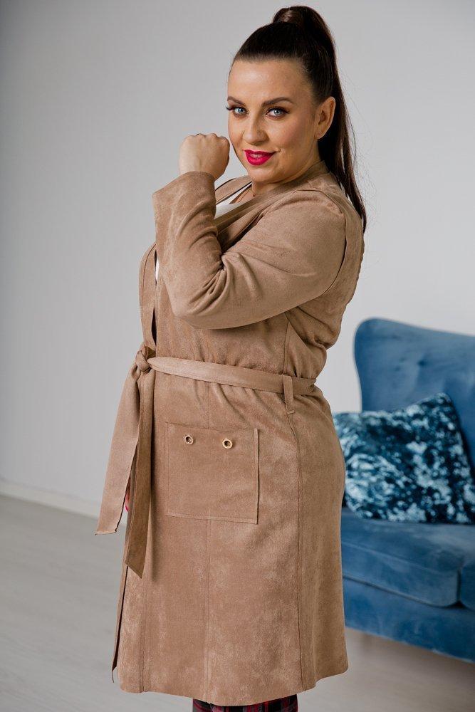 Beżowy Płaszcz CLASSY Plus Size