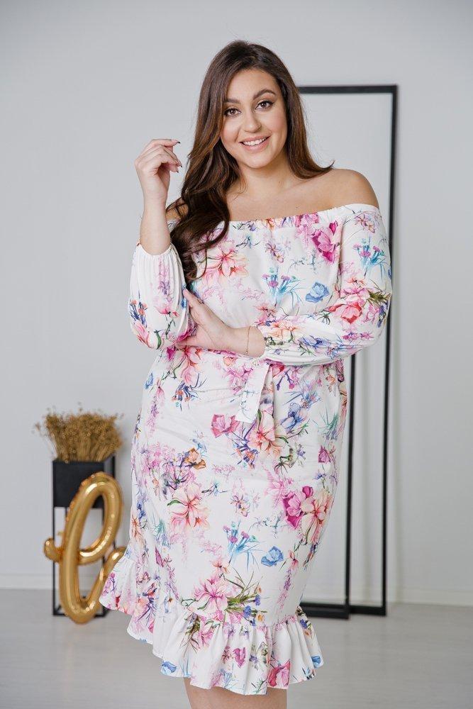 Biała Sukienka ESPANA Plus Size Wzór 4