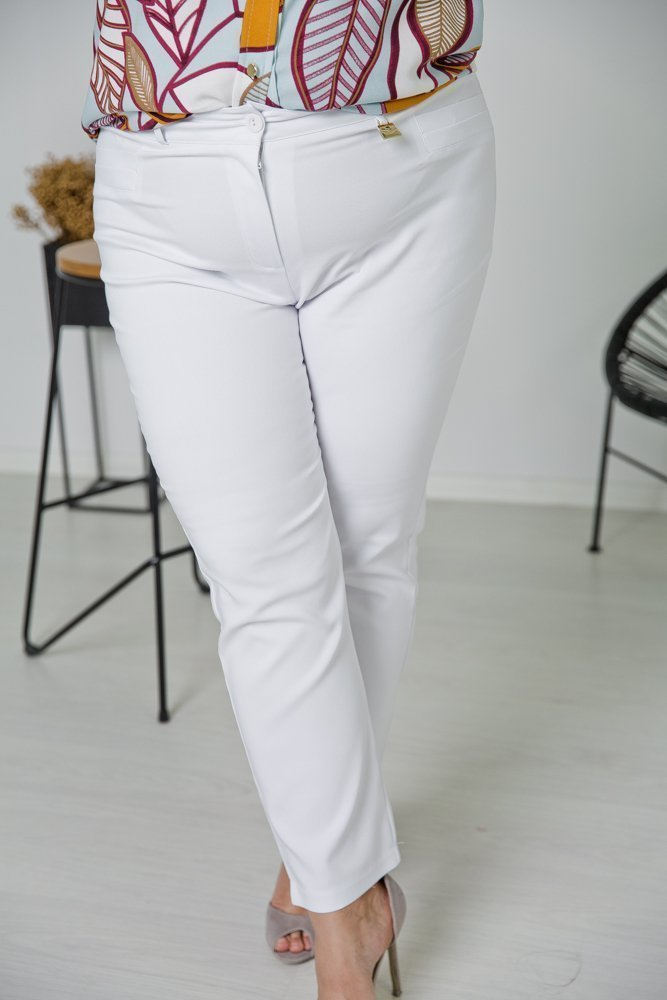 Białe Spodnie VIZON Plus Size