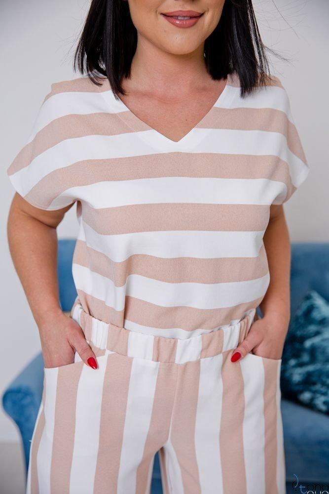 Biało-Beżowy Komplet JINNY Plus Size
