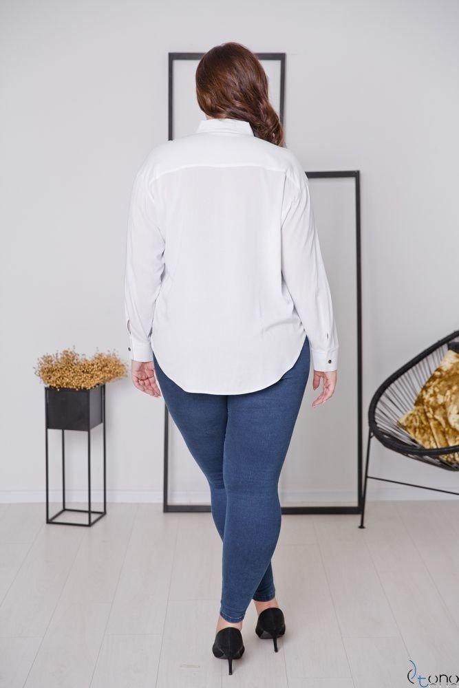 Biało-Srebrna Koszula BILARES Plus Size
