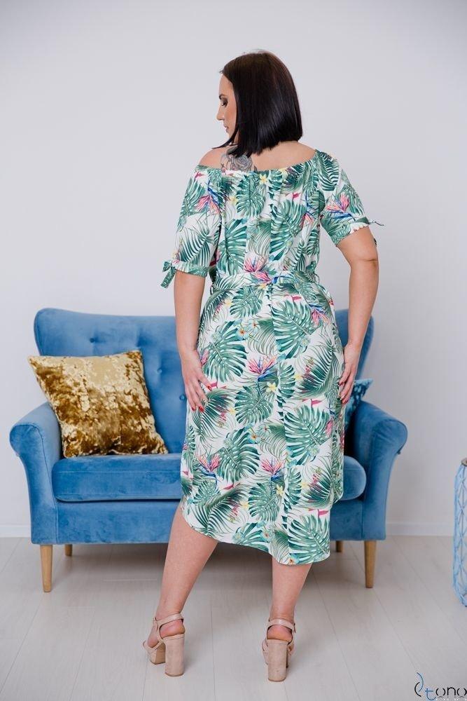 Biało-zielona Sukienka LAROZ Plus Size Hiszpanka