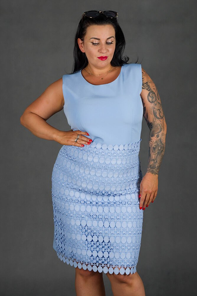 Błękitna Sukienka REINA  Koronka