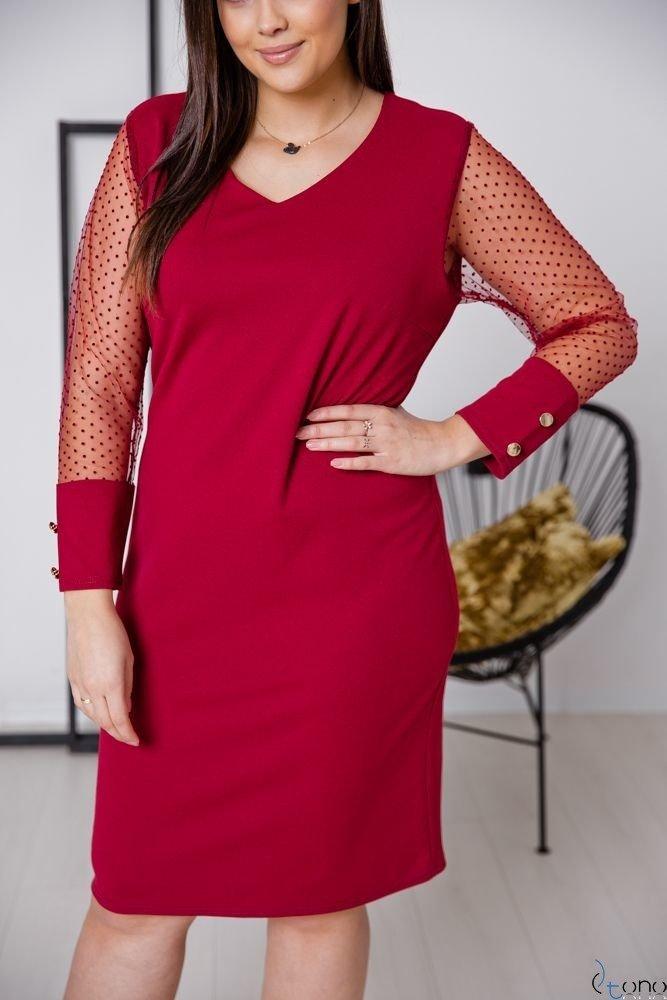 Bordowa Sukienka BOFFINA Plus Size