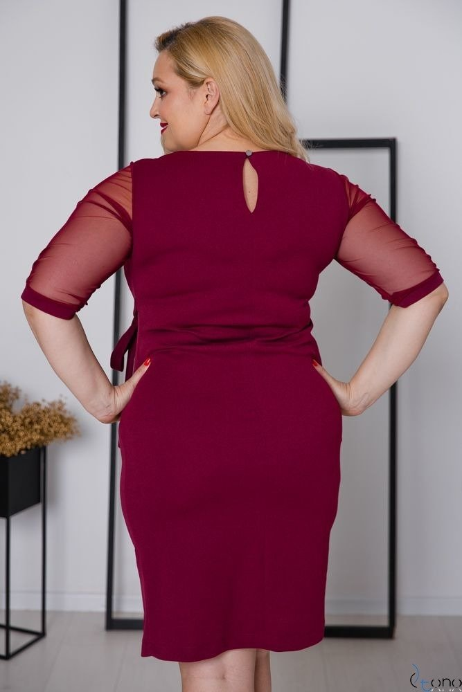 Bordowa Sukienka CRAVATTA Plus Size