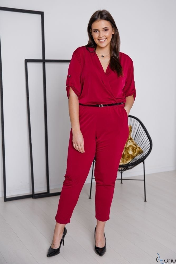 Bordowy Kombinezon OLIVET Plus Size