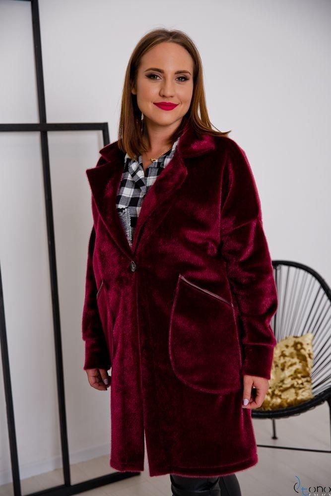 Bordowy Płaszcz BARIOSA Plus Size