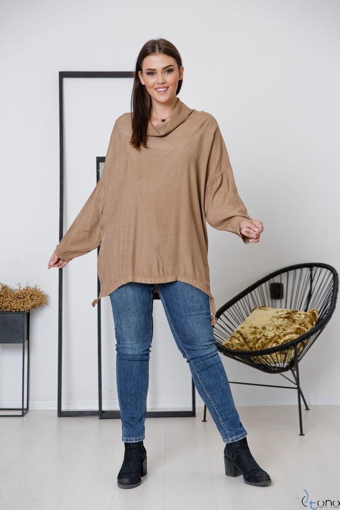 Camelowa Bluzka COLLO Plus Size