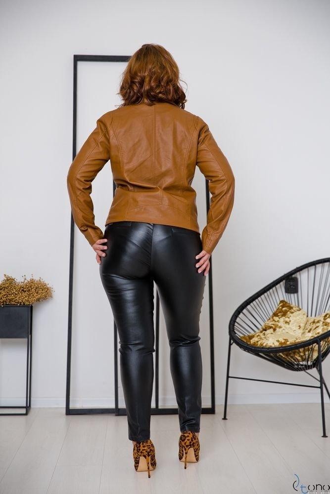 Camelowa Kurtka TROFEA Ramoneska Plus Size