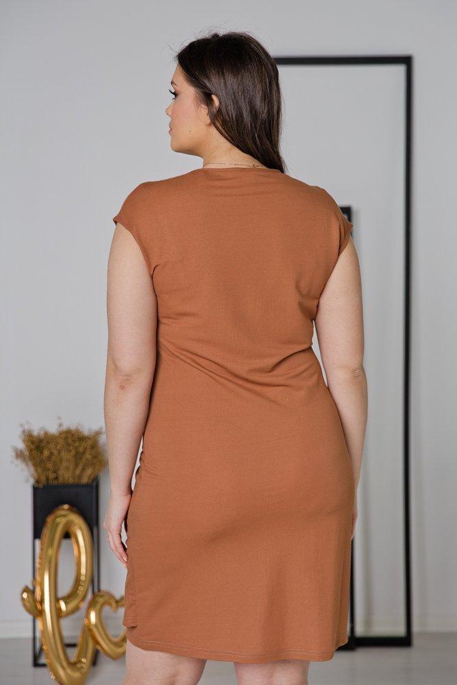 Camelowa Sukienka VENGA Plus Size