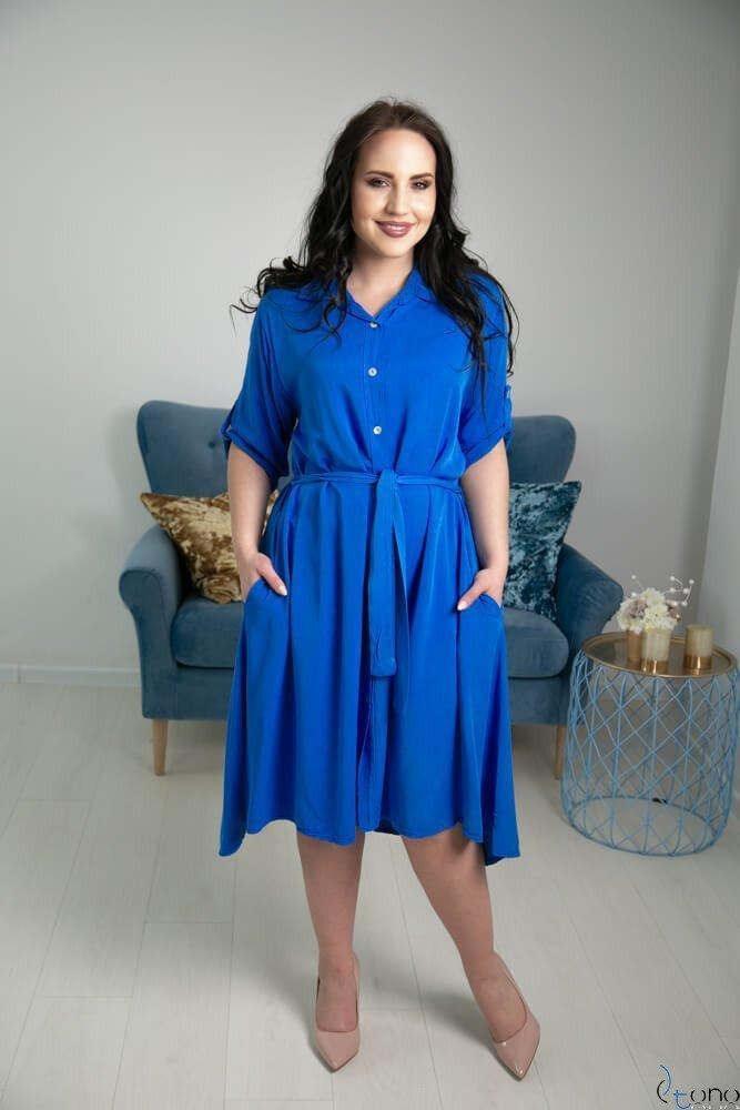 Chabrowa Sukienka RAMIRA Plus Size Szmizjerka