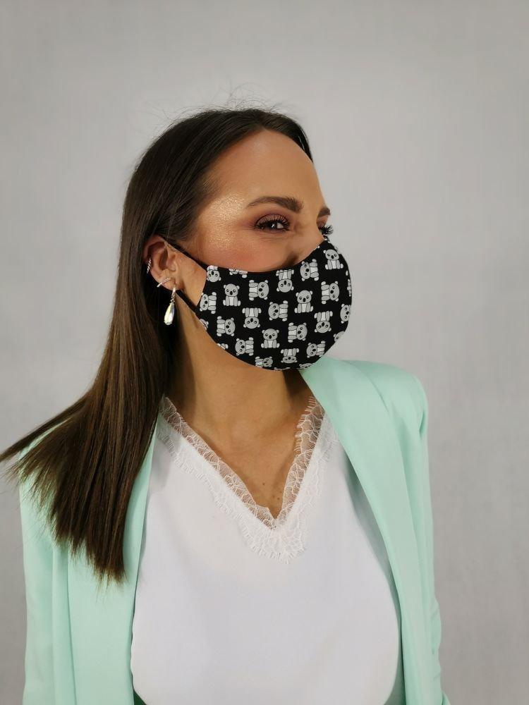 Czarna Bawełniana Maseczka Maska Wielorazowa Wzór 13