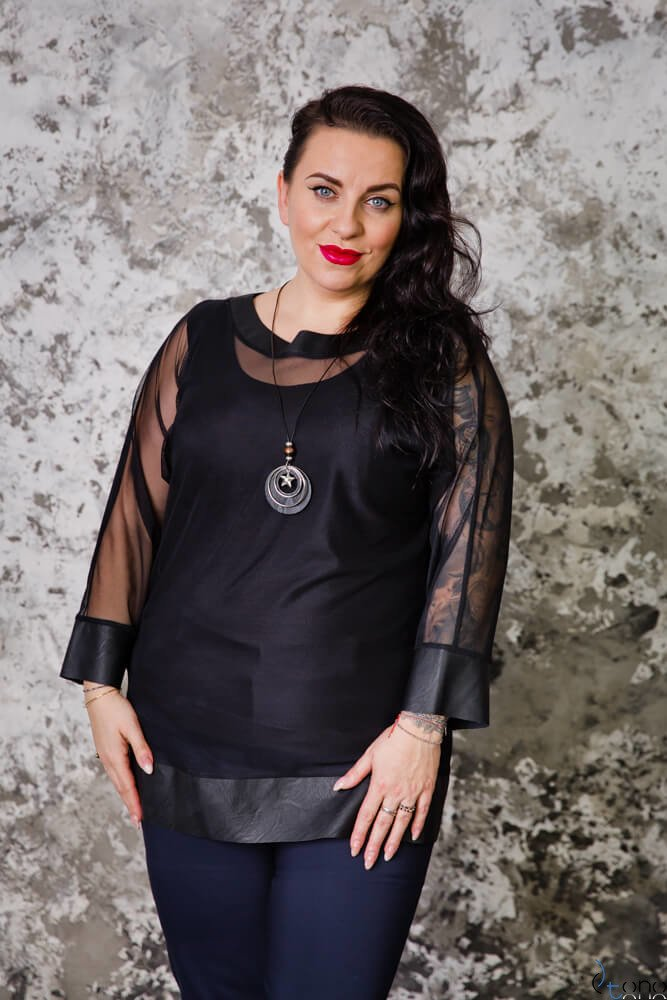 Czarna Bluzka FOGGY Plus Size Tiul