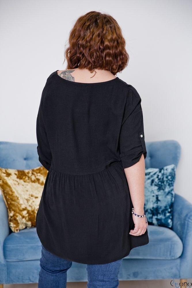 Czarna Bluzka OLTERIS Plus Size