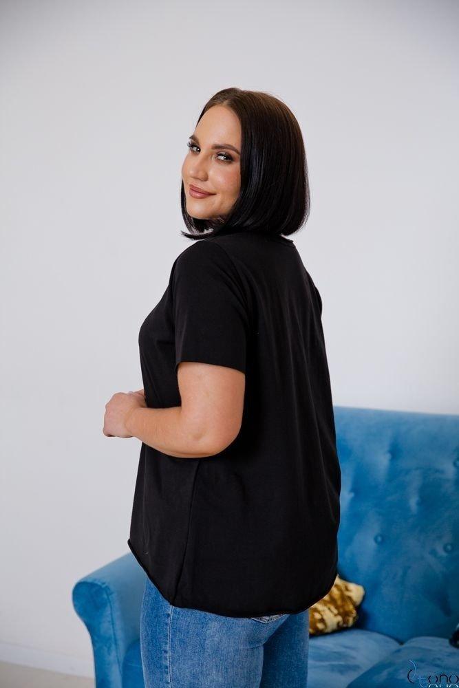 Czarna Bluzka ORIGAMI Plus Size