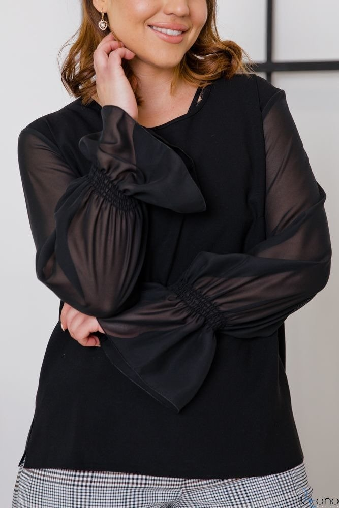 Czarna Bluzka PARELA Plus Size