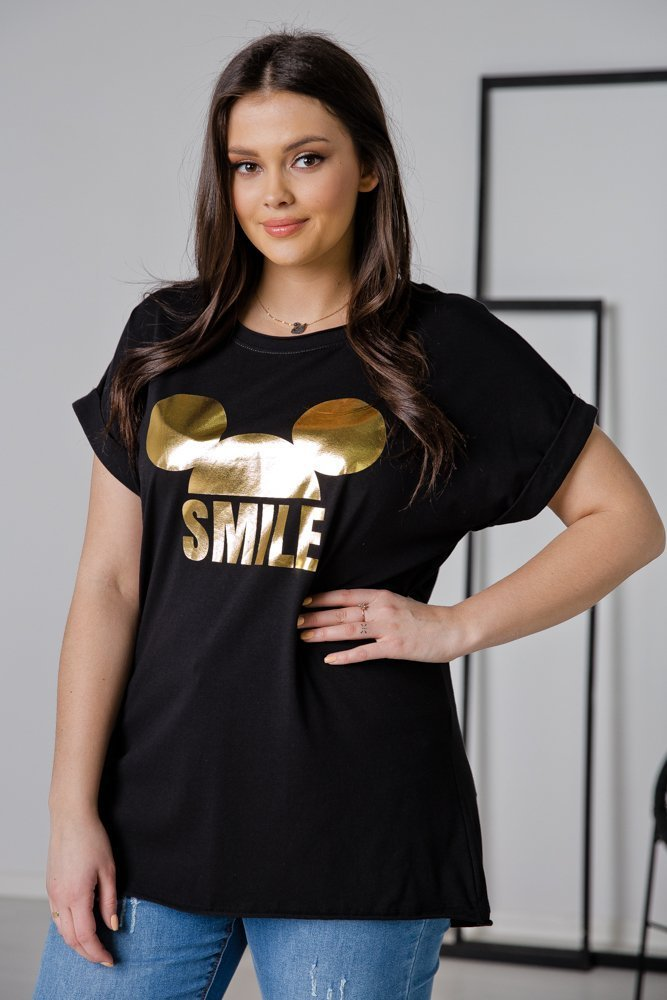 Czarna Bluzka SMILE Plus Size