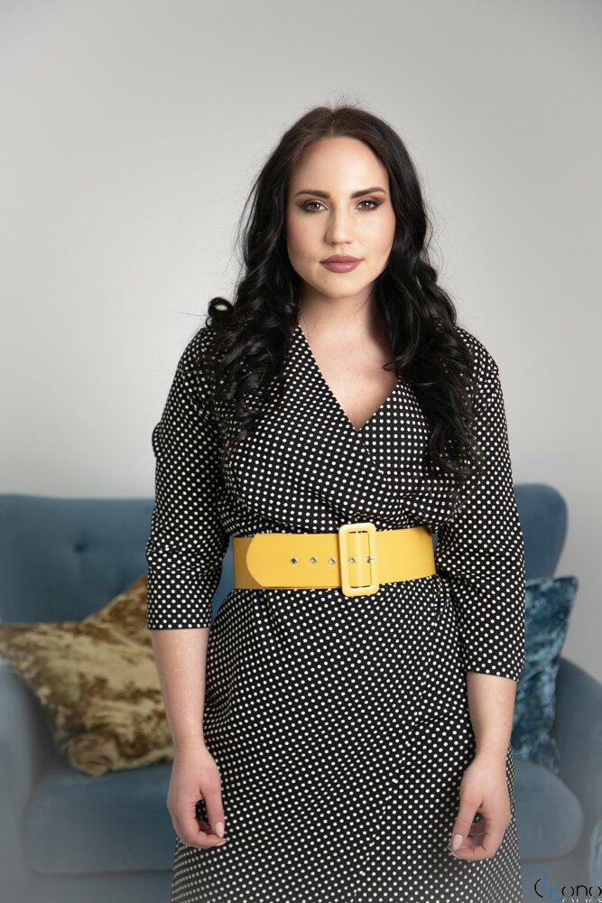 Czarna Sukienka AMPARO Plus Size Grochy