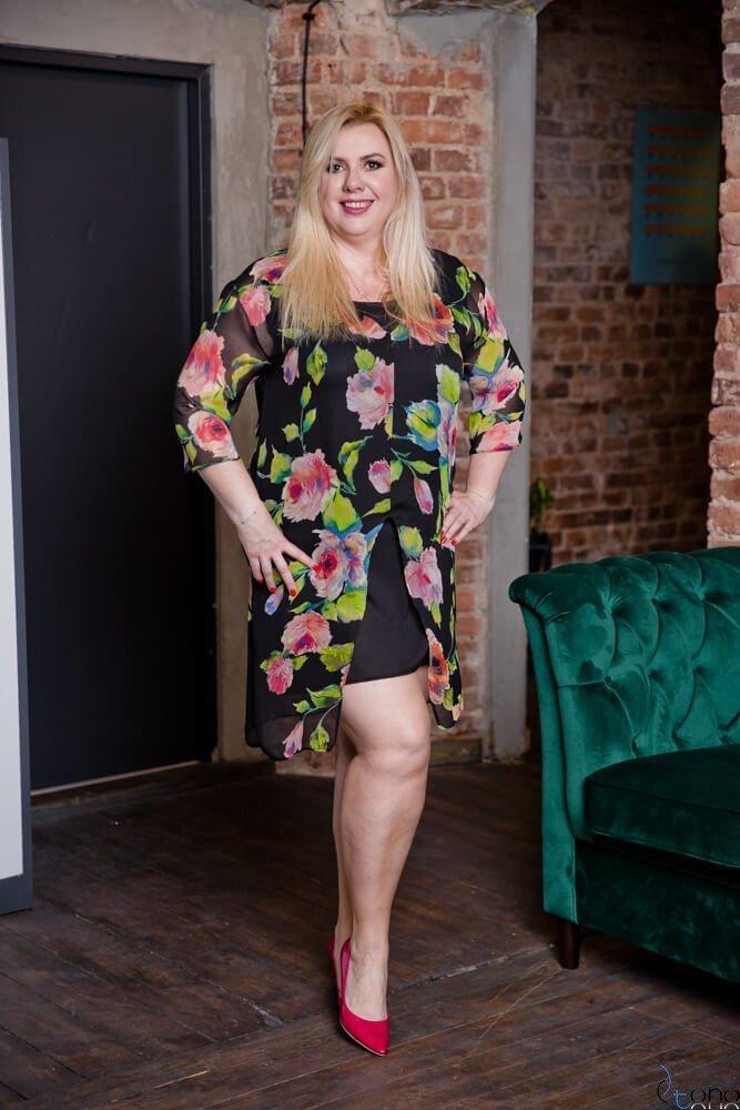 Czarna Sukienka REGINA Plus Size
