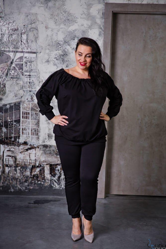 Czarne Spodnie REGGIE Plus Size Ściągacz