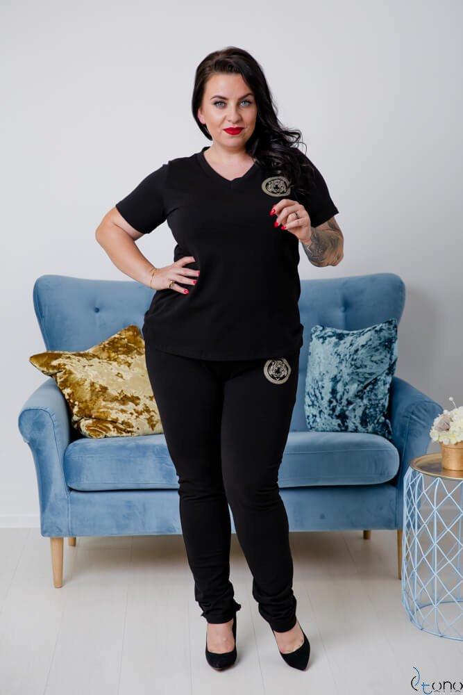 Czarne Spodnie TIGER Plus Size