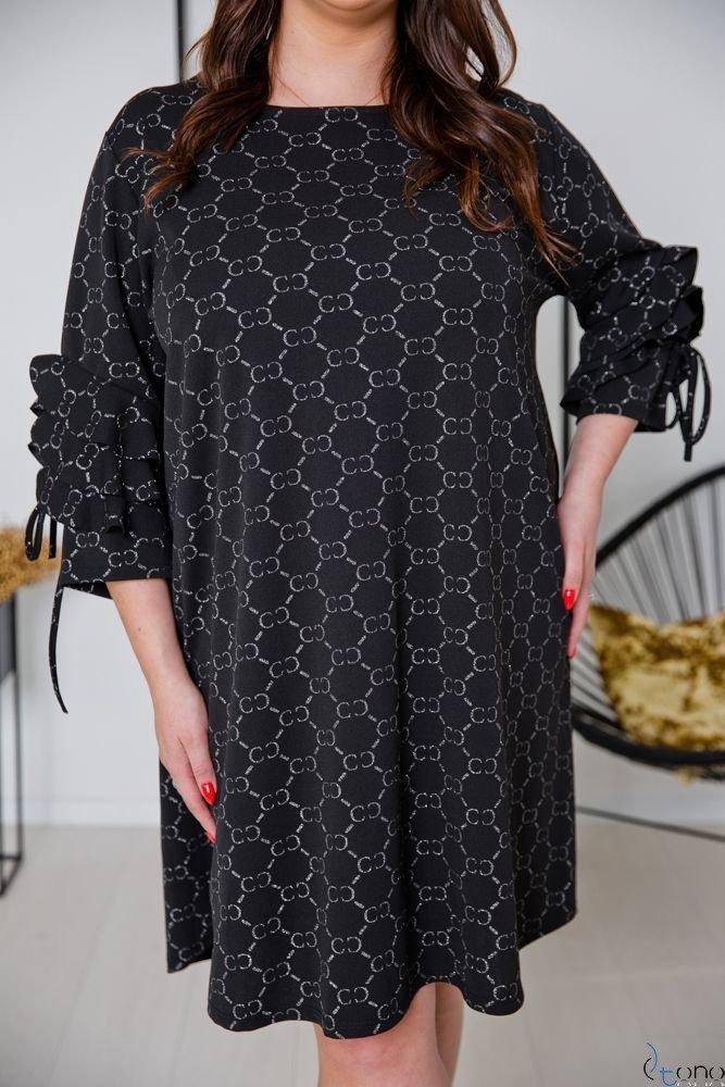 Czarno-Srebrna Sukienka CROEN Plus Size