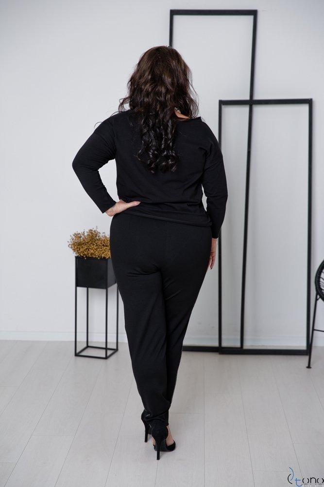 Czarno-Srebrne Spodnie RIGES Plus Size