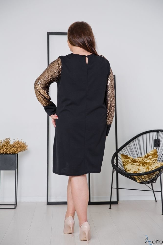 Czarno-Złota Sukienka CELESTA Plus Size
